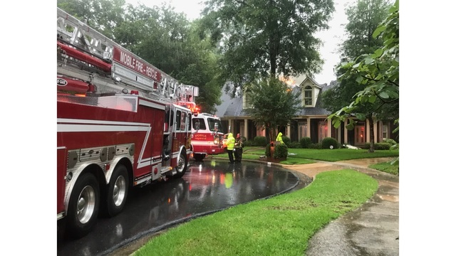 Lightning strike causes house fire on Muir Woods Court in Mobile