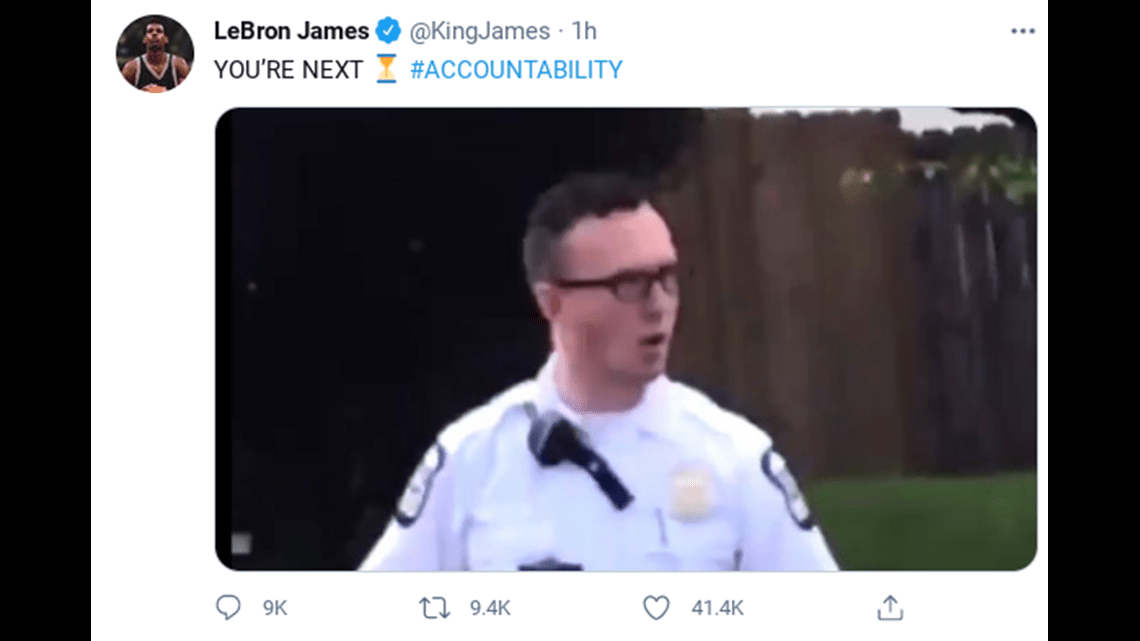 LeBron James controversial tweet over Police Shootings ,LA Cop wants to talk to him 4/26/21