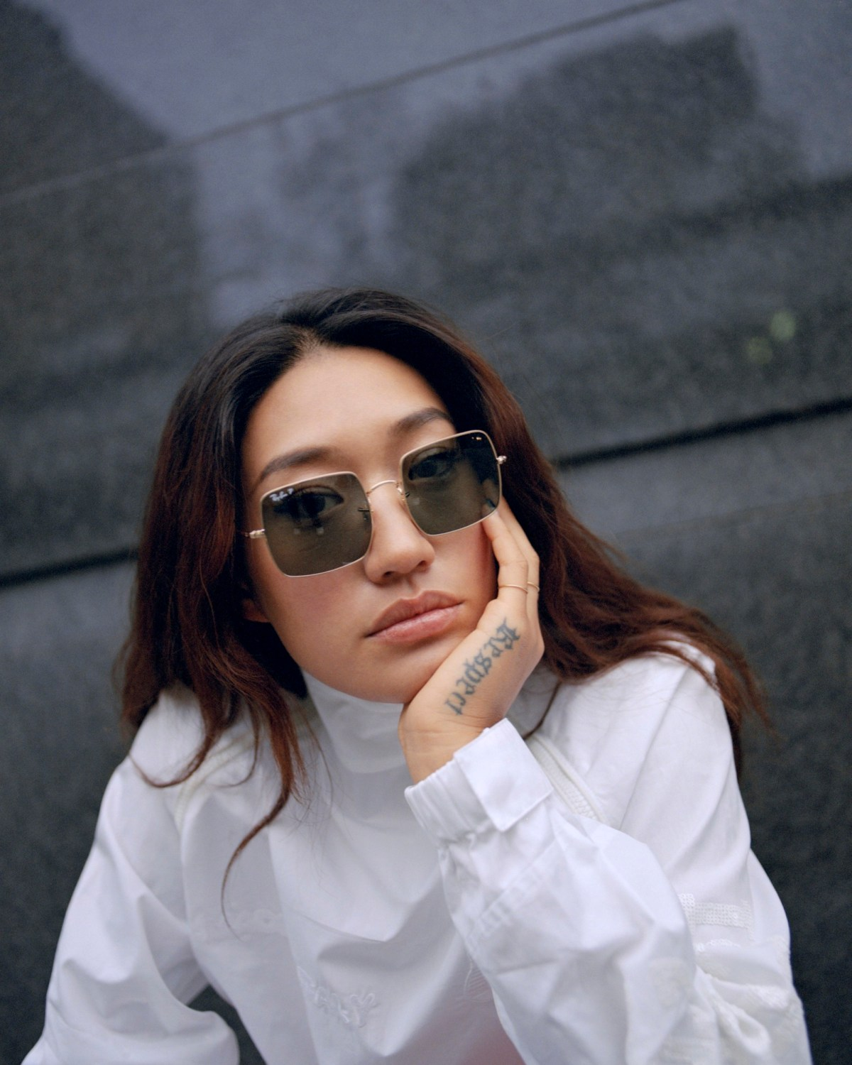 South Korean DJ Peggy Gou on the cover of Rollacoaster Spring/Summer 2019 in white shirt