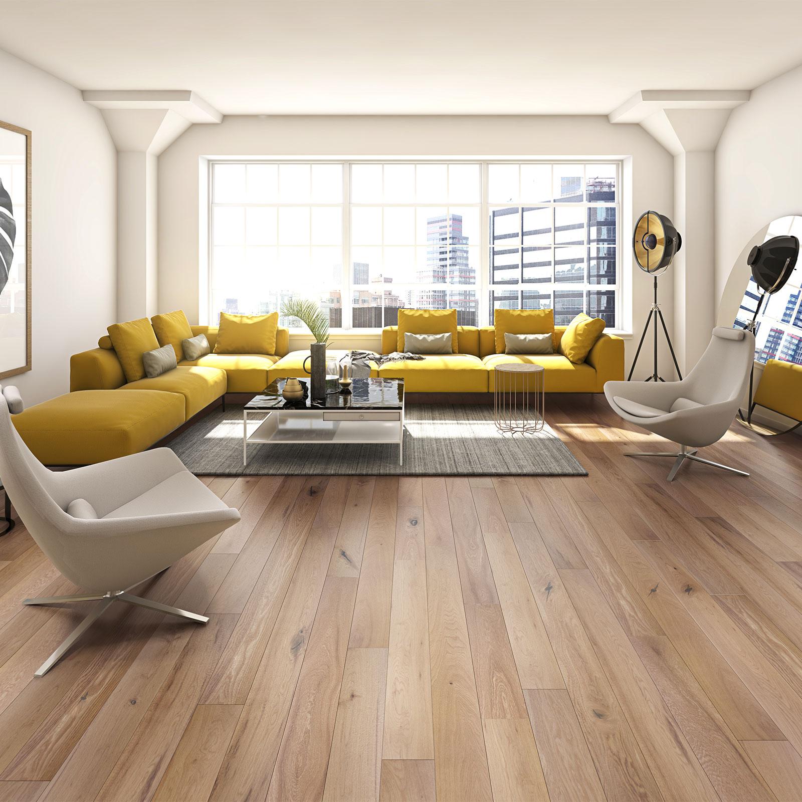 oak wood floor living room mini bar ideas for fitting flooring over underfloor heating woodpecker professional harlech rustic