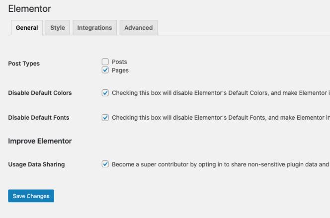 Paramètres Elementor - Désactiver pour les publications