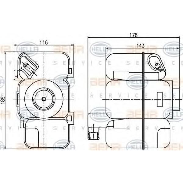 Expansion Tank, coolant HELLA 8MA 376 789-741