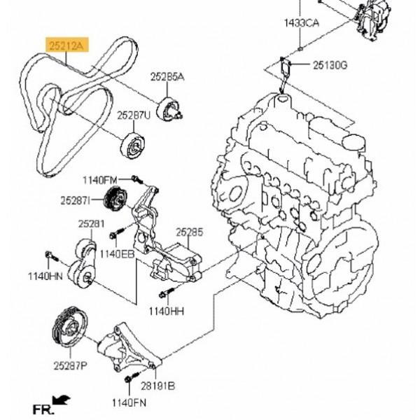 V-Ribbed Drive Belt for Hyundai ix35, Kia Sportage