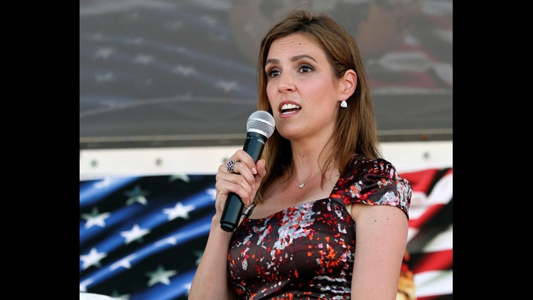 Taya Kyle speaks about the statue of her late husband, Chris Kyle, before its unveiling Thursday.