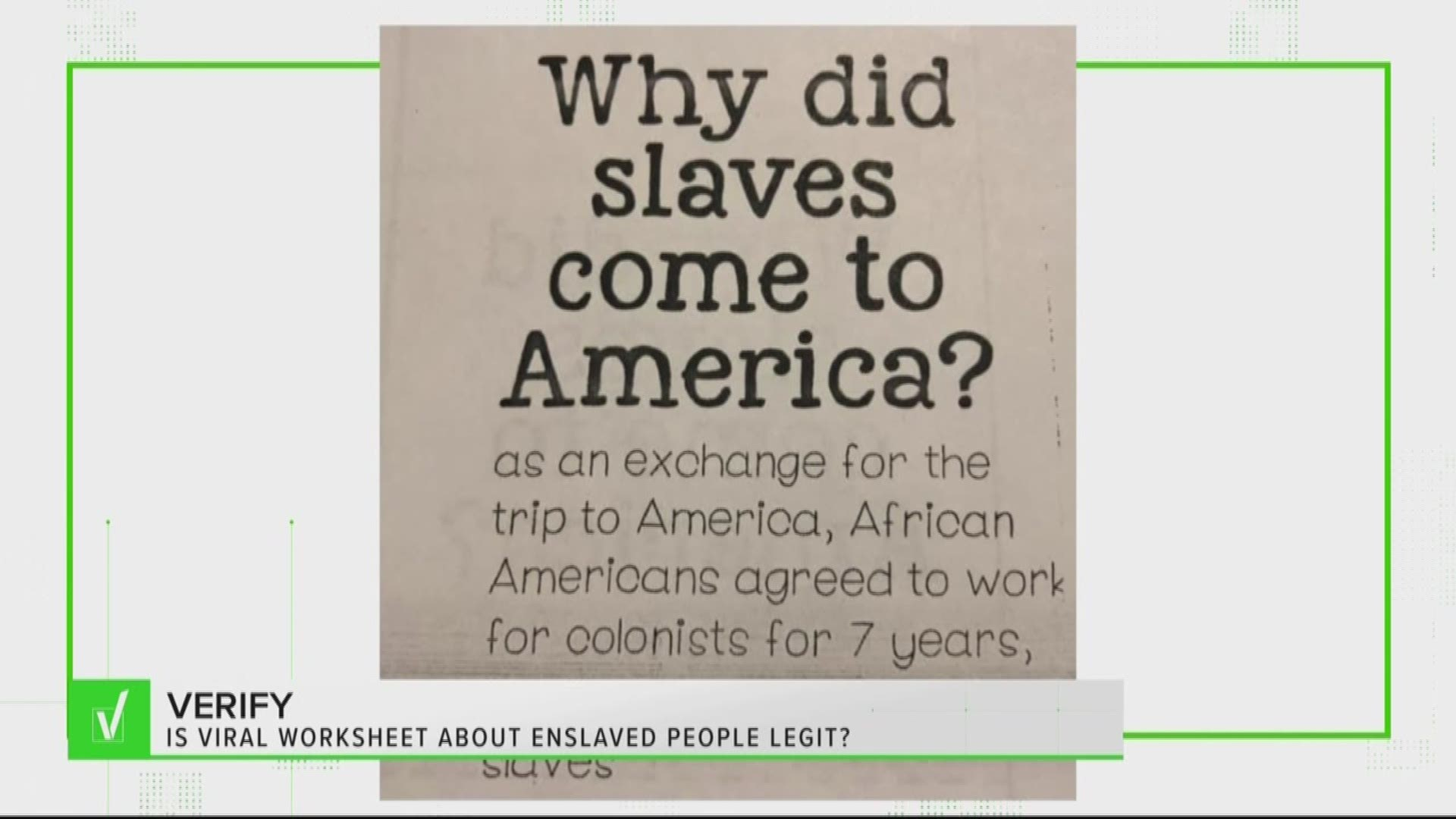 Verify Worksheet On Why Enslaved People Came To America