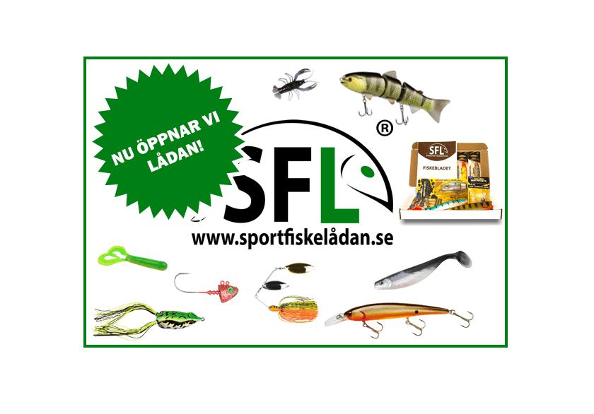 Bild på sportfiskelådan logotyp, produkat samt fiskedrag