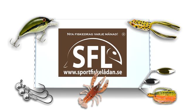 sportfiskelådan standard med wobblers, jiggar, drag till aboore, drag till gädda och mjuka beten