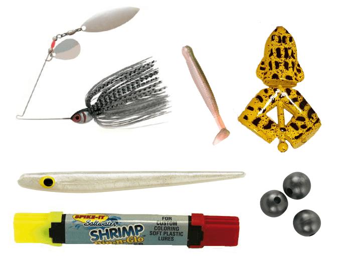 innehåll i sportfiskelådan standard maj, spinnerbait, jigg, grodbete, jiggpenna, jigg, gummikulor