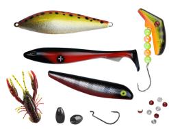 sportfiskelådan xl fylld med ismo salza, jiggar, offsetkrok och andra bra fiskesaker