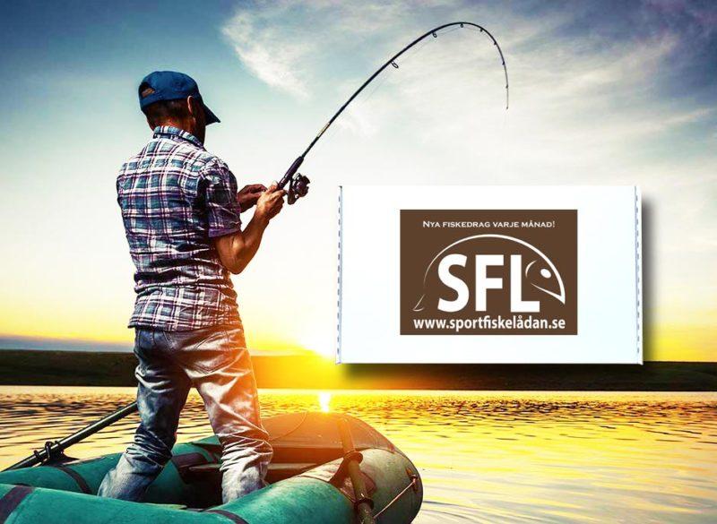 bild med sportfiskelådan och en fiskare