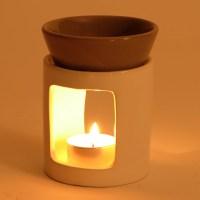 DESIGN FRAGRANCE LIGHT RELAX candle lamp oil ceramic white