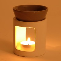 DESIGN FRAGRANCE LIGHT RELAX candle lamp oil ceramic white ...