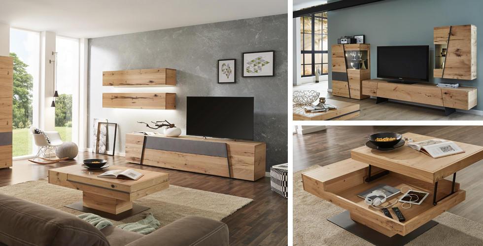 Natur pur Holz im Wohnzimmer XXXLutz