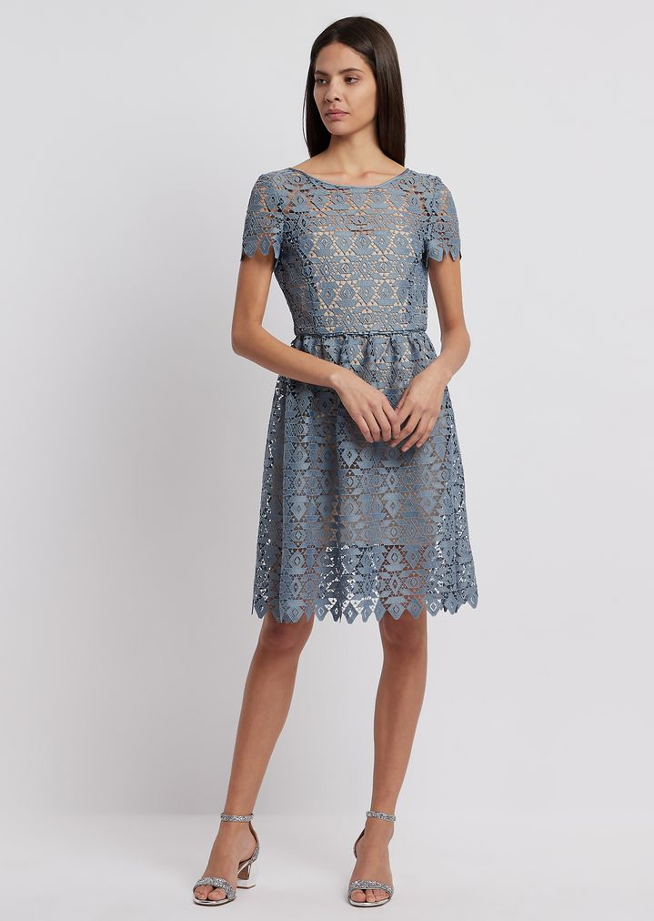 dress in geometric macramé