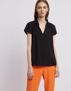 Poly crepe short sleeved top with ruches on the collar also women   shirts tops emporio armani   rh