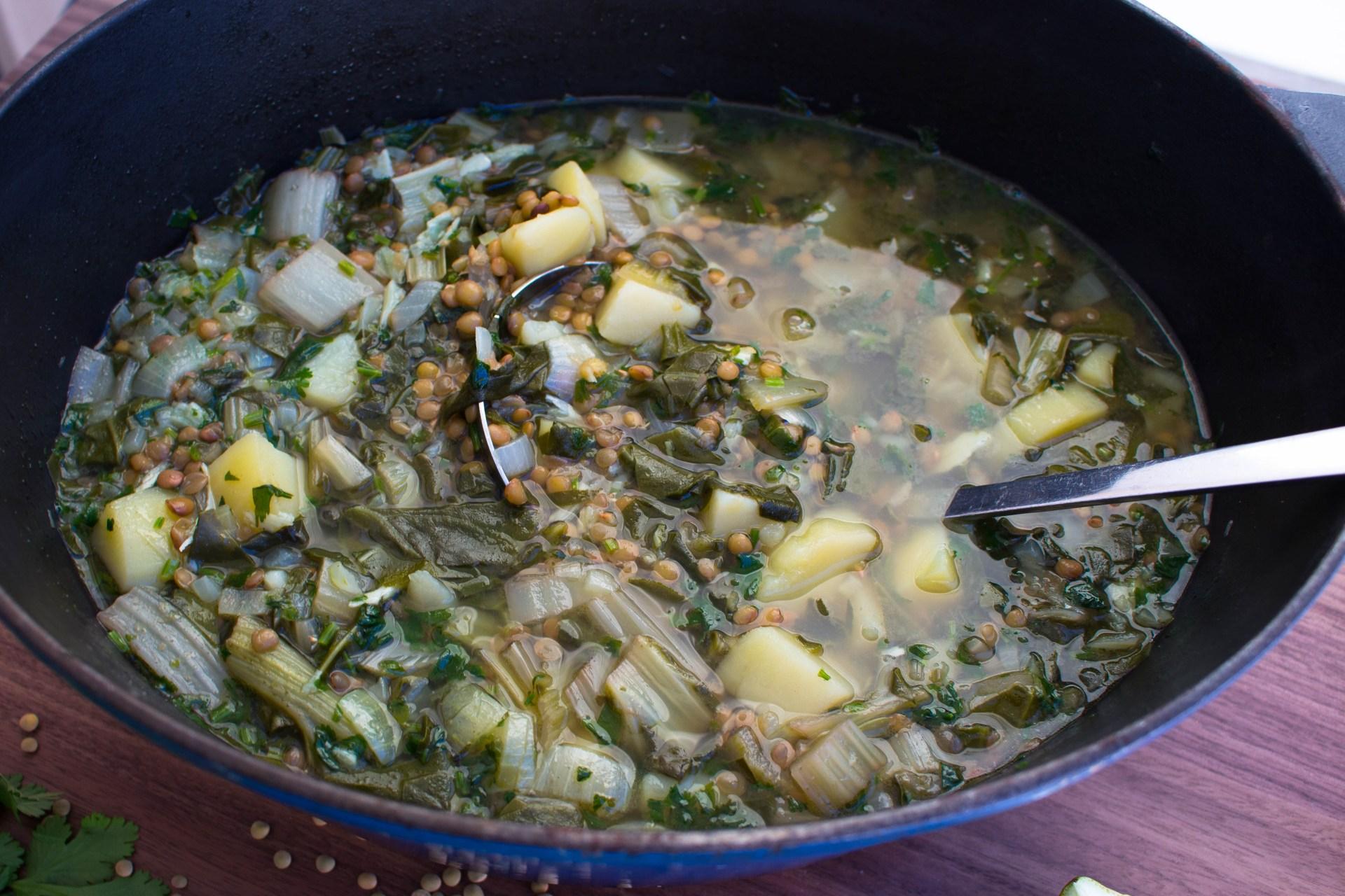 Klart att serveras. God och frisk soppa.