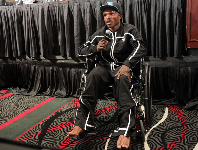 Timothy Bradley attends news conference in a wheelchair after beating Manny Pacquiao