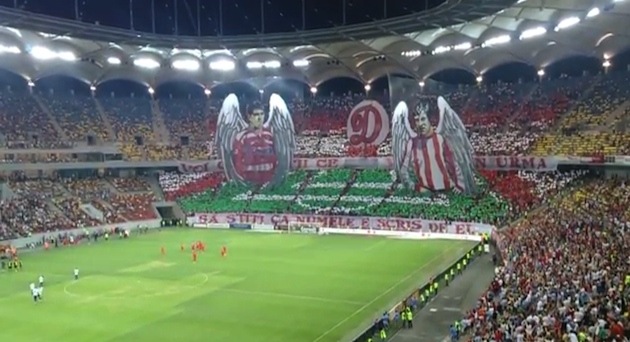 Romanian derby starts with impressive tifo tribute even better goal