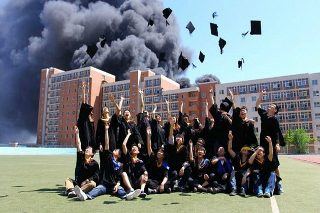 Image result for image of burning down university