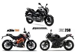 Suzuki Inazuma vs Kawasaki Z250 vs KTM 390 Duke: Spec