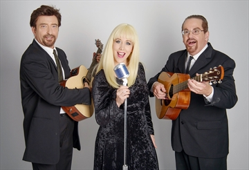 Co-starring in Legends of Folk on Sept. 17 are Joe Passion (left), Loralee McGuirl and Steven Miller as Peter, Paul and Mary.
