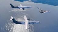 Bisher nur als Prototyp: Airbus-Flugzeug mit null Emissionen (vorne).