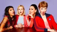 Die Vier aus Goldstein: Jo (Salka Weber), Franzi (Llewellyn Reichman), Elif (Jasmin Shakeri) und Lena (Sarah Bauerett, von links)).