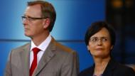 Die beiden früheren Thüringer Ministerpräsidenten Bodo Ramelow und Christine Lieberknecht im September 2014