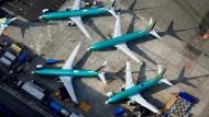 Mehrere Boeing-737-Max-Maschinen in einem Werk in Renton, Washington