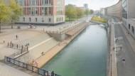 """Das geplante """"Flussbad"""" der Architekten und Künstler Jan und Tim Edler soll unterhalb der Berliner Museumsinsel, direkt vor dem neuen Schloss entstehen."""