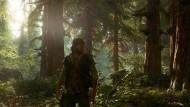 Nicht nur in Videospielen ein beliebter Topos: Mann (Deacon St. John) im Wald