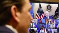 Österreichs Bundeskanzler Sebastian Kurz am Donnerstag während einer Videoschalte mit dem amerikanischen Präsidenten Joe Biden und Spitzen der EU-Staaten