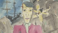 """Aus dem Nachlass: eine eigene Illustration Borcherts zu seiner im März 1945 entstandenen unveröffentlichten """"Hafenballade"""""""