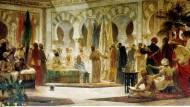 Der Kalif Abd al-Rahman III. empfängt den Mönch Johannes von Gorze an seinem Hof: Gemälde des katalanischen Künstlers Dionis Baixeras Verdaguer, 1885