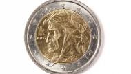 Die italienische Zwei-Euro-Münze mit dem Konterfei Dantes