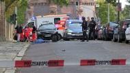 Der Tatort rund um die Synagoge im Paulusviertel in Halle an der Saale.
