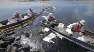 Reinigungsfirmen versuchen weiteres Eindringen von Rohöl in die Wetlands Talbert Marsh in Huntington Beach, Kalifornien, zu verhindern.