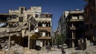 Zerstörte Gebäude in Duma bei bei Damaskus auf einer Aufnahme vom 19. Juni 2019