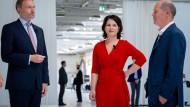 Da war noch alles offen: Lindner, Baerbock und Scholz während des Wahlkampfs im Juni
