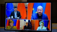 Eine Videokonferenz zwischen der EU und China im Dezember 2020