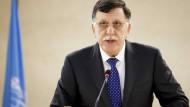 Libyscher Ministerpräsident Fajis al-Sarradsch Ende Februar in Genf