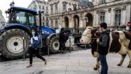 Proteste gegen vegetarische Kantinenmahlzeiten: Ein Landwirt am Montag mit einer Kuh vor dem Lyoner Rathaus