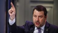 Der Lega-Vorsitzende Matteo Salvini am 14. April während einer Talkshow in Rom