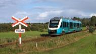 Ein Arriva-Zug an einem ländlichen Bahnübergang in Dänemark.