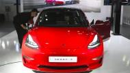 Ein Tesla Modell 3 auf einer Motormesse in Seoul im März dieses Jahres