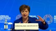 Kristalina Georgiewa, neue Direktorin des Internationalen Währungsfonds, spricht während einer Pressekonferenz nach der IWF-Jahrestagung.