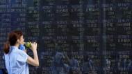 Börsen-Achterbahnfahrt, die durstig macht: Japans Börse schloss acht Handelstage hintereinander im Minus.