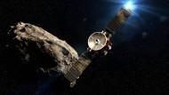 Der geplante Start der Sonde ist 2028. Ein Vorbeiflug an der Venus und der Erde (hier in einer mit dem Computer generierten Darstellung) soll ihr den nötigen Schwung geben für die Reise zum Asteroidengürtel geben.