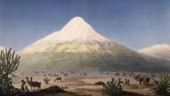 Der Chimbarazo von der Ebene von Tapia aus gesehen. Den kolorierten Kupferstich fertigte Jean-Thomas Thibaut nach einer Skizze von Alexander von Humboldt an.