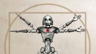Erlöser aus Stahl und Blut? Leonardo DaVincis vitruvianischer Mensch als KI-Roboter dargestellt.